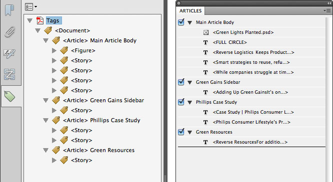 Tags pane to Articles panel comparison